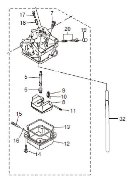 画像1: TOHATSU(トーハツ) 2馬力(MFS2A)用キャブレターアッシ (1)
