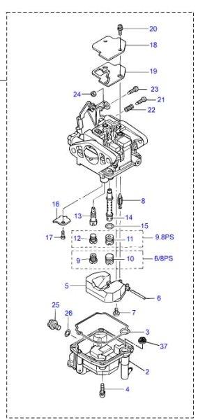 画像1: TOHATSU(トーハツ) 9.8馬力(MFS9.8B)用キャブレターアッシ (1)