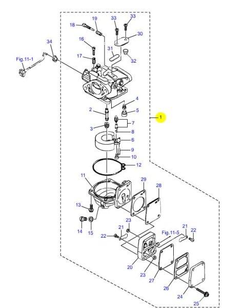画像1: TOHATSU(トーハツ) 8馬力(M8B)用キャブレターアッシ (1)