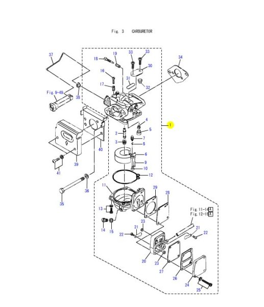 画像1: TOHATSU(トーハツ) 5馬力(M5B)用キャブレターアッシ (1)
